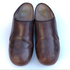 Dansko Women's Brown Leather Slip On Clogs Size 10
